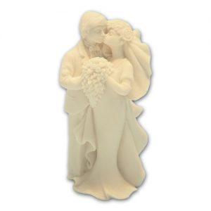 Item # 11192 - Bruidspaar Marmer met Boeket - Maat 14 cm