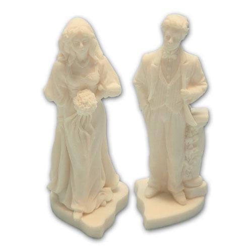 Item # 11217 - Bruidspaar Marmer Op Gesleten Hart - Maat 14 cm
