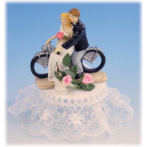 Item # 211 - Bruidspaar op Motorfiets met Voet Polystone