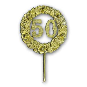 """Item # 161/50 - Medaille Prikker """"50"""" Goud - Ø 6,5 cm - 12 St"""