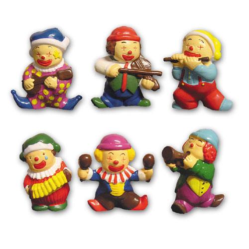 Item # 1802 - Muziek Clowntjes Set - Ca. 4 cm - 6 Stuks per set