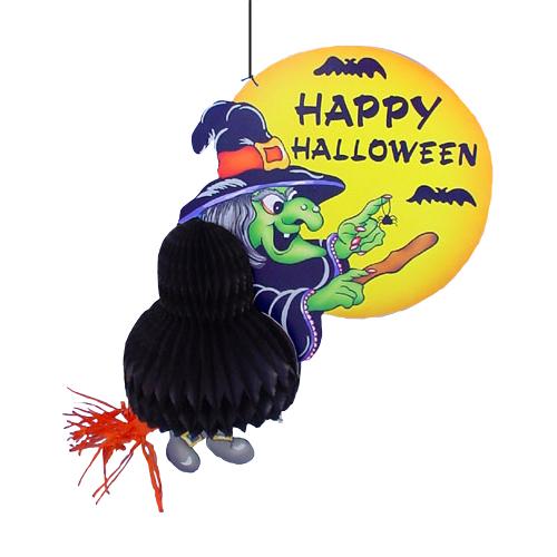 Heks Op Bezem – met tekst Happy Halloween