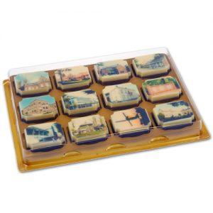 Item #543028 - Doosjes voor logo Bonbons 12 vaks - 100 stuks