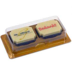 Item #543024 - Doosjes voor logo Bonbons 2 vaks - 200 stuks