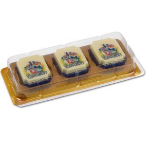 Item #543025 - Doosjes voor logo Bonbons 3 vaks - 200 stuks
