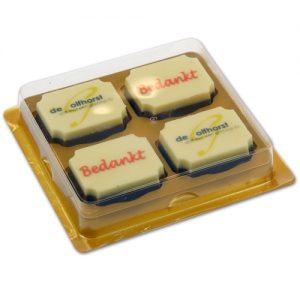 Item #543016 - Doosjes voor logo Bonbons 4 vaks - 100 stuks