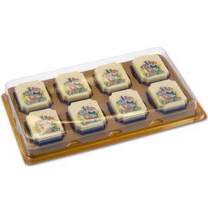 Item #543027 - Doosjes voor logo Bonbons 8 vaks - 100 stuks
