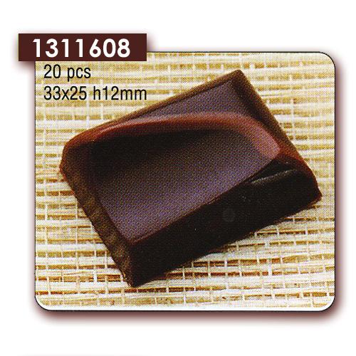 Polycarbonaat Bonbon Chocoladevorm Rechthoek asymmetrisch