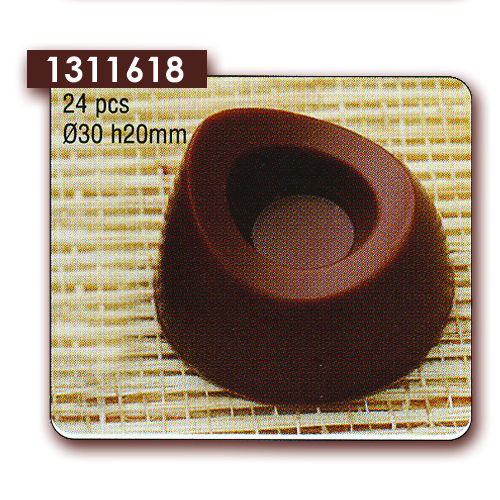 Polycarbonaat Bonbon Chocoladevorm Rond asymetrisch met rand