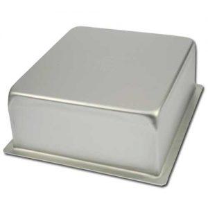 Bakvorm Vierkant - 4x4 inch x h 4 inch - Geanodiseerd Aluminium -0