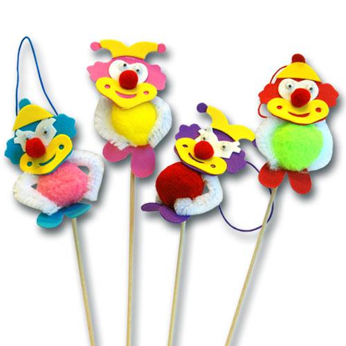 Chenille Clown op prikker - 50 stuks per doos-0