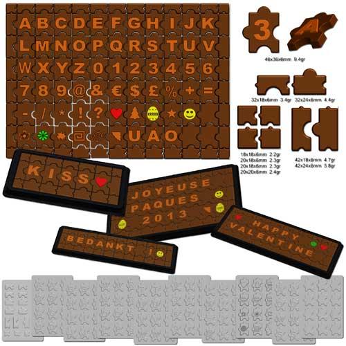 Plastic mallen voor Choco Puzzel Gram-0